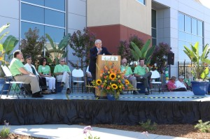 Woodland Mayor Skip Davies speaks at the grand opening Thursday morning of the new Monsanto research facility on Highway 16 in Woodland. Sue Cockrell/Enterprise photo